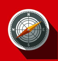 compass symbol long shadow flat design circle icon vector image vector image