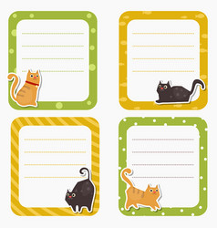 cute cards or stickers with cat cute cards or vector image vector image