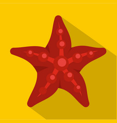 red starfish icon flat style vector image