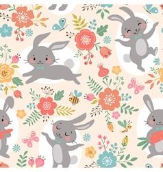 Spring rabbits pattern vector image vector image