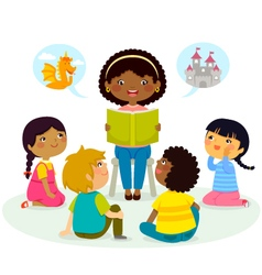 Story time - multicultural group vector