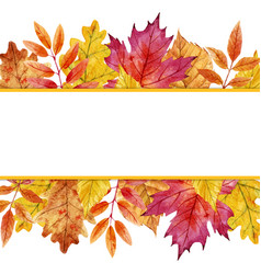 watercolor autumn leaves frame vector image vector image
