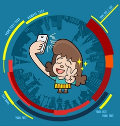 Young girl taking photo on smartphone vector image vector image