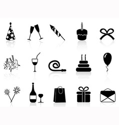 black celebration icons set vector image vector image