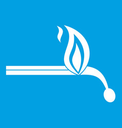 burning match icon white vector image vector image