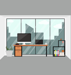 office workspace design interior in flat vector image vector image