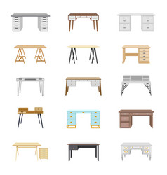 set of fifteen office desks vector image vector image