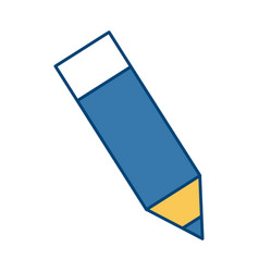 wooden sharp pencil rubber eraser isolated on vector image