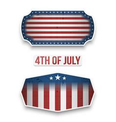 Fourth of july national flag labels set vector