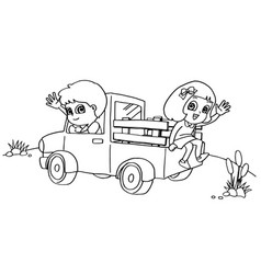 little boy and friend driving a toy car coloring vector image