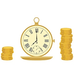 Pocket watch and coins vector image vector image