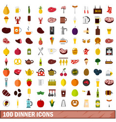 100 dinner icons set flat style vector image