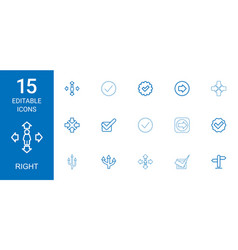 15 right icons vector