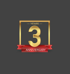 3 years anniversary logo style with golden square vector