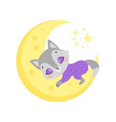 A cute cartoon wolf sleeping vector
