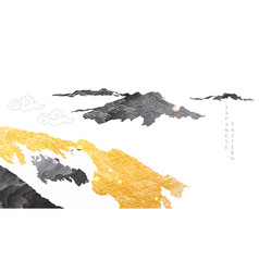 abstract landscape with japanese wave pattern vector image