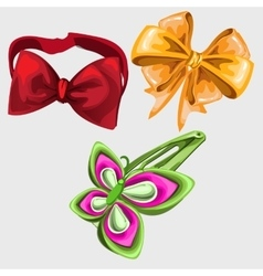 Accessories in shape of butterfly tie and hairpin vector