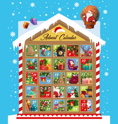 Advent calendar christmas and new year holidays vector