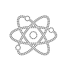 atom sign black dashed icon vector image