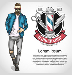 Barbershop flyer with scissors pole vector