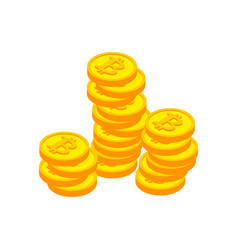 bitcoin stack cryptocurrency on white background vector image