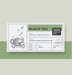 black green tea design package template vector image