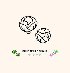 brussel sprouts icon vegetables logo cabbage vector image