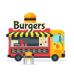 Burgers food truck street meal vehicle fast food vector