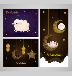 cards eid al adha mubarak happy sacrifice feast vector image