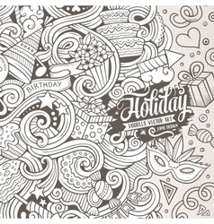 Cartoon hand-drawn doodles holidays vector image