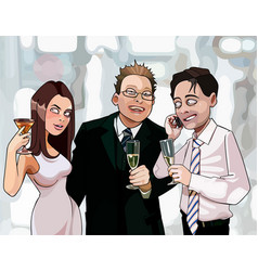 Cartoon men and woman drink at corporate vector