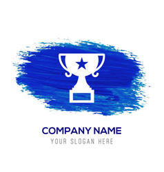Champion cup icon - blue watercolor background vector