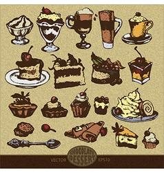 chocolate desserts vector image