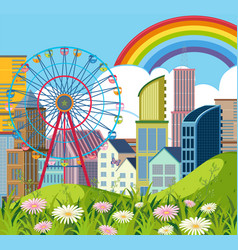 City scene with buildings and ferriswheel vector