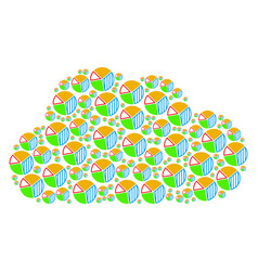 cloud collage of pie chart icons vector image