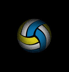 Colorful dotted volleyball on black vector