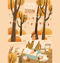 cozy season hand drawn greeting card vector image