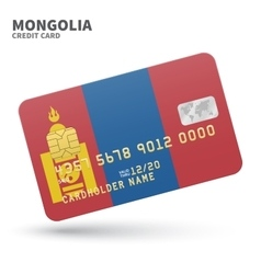 Credit card with mongolia flag background for bank vector