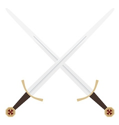 Crossed templar swords vector