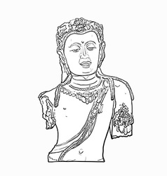 Drawing bust of Bodhisattva Avalokiteshvara vector