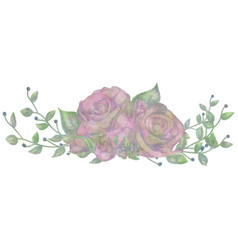 Drawn watercolor flower rose vector
