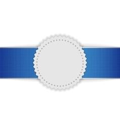 Festive badge on blue ribbon vector