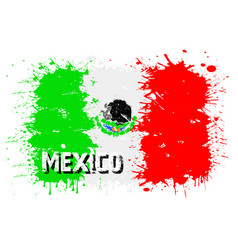 Flag of mexico from blots of paint vector