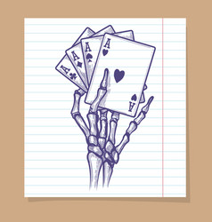 Four aces in skeleton hand sketch vector