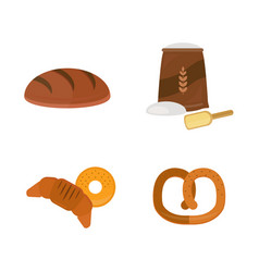 fresh baked bread products icons isolated vector image