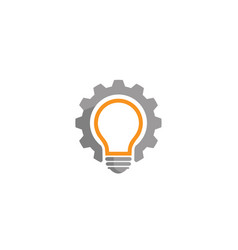gear idea bulb lamp logo vector image
