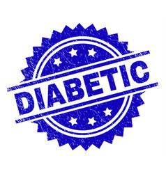 grunge textured diabetic stamp seal vector image