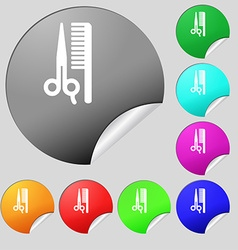 Hair icon sign Set of eight multi colored round vector
