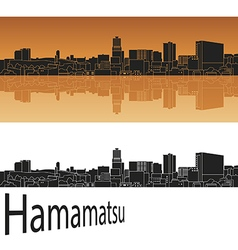 Hamamatsu skyline in orange vector image