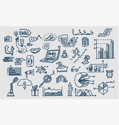 hand drawn elements symbols business vector image